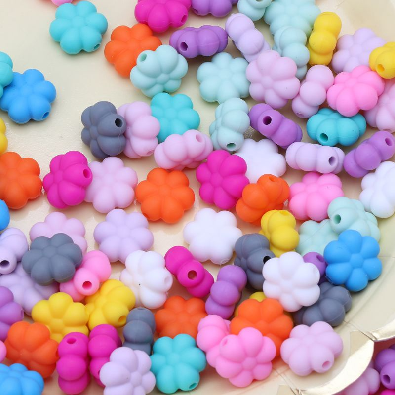 10 PCS Multi-Colors 15 MM Double-faced Flower Silicone Beads Teething Beads For DIY Necklace BPA Free