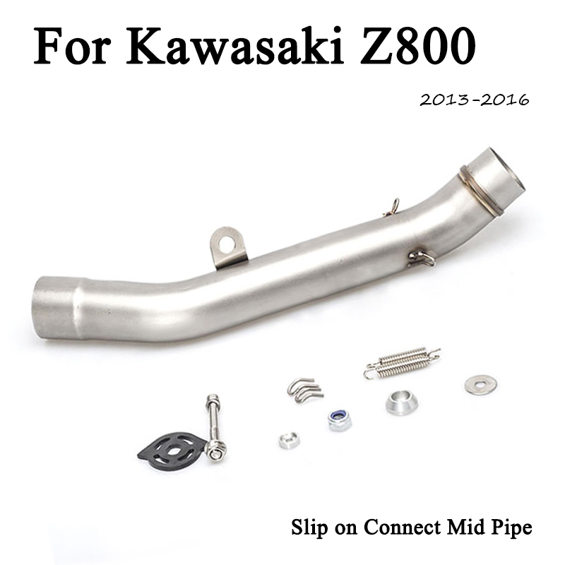 Z800 Slip On Motorcycle Exhaust Muffler Middle Link Pipe Tip Tube For Kawasaki 2013-2016 Moto