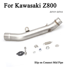 Z800 Slip On Motorcycle Exhaust Muffler Middle Link Pipe Exhaust Link Pipe Muffler Tip Tube For Kawasaki Z800 2013-2016 Moto