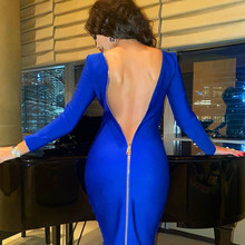 Adyce – robe de soirée moulante et Sexy à manches longues pour femme, tenue de soirée Midi, noire, bleue, célébrité, Club, nouvelle collection été 2021