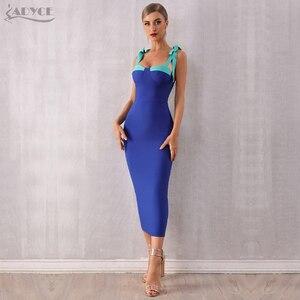Image 5 - ADYCE 2020 חדש קיץ נשים Bodycon תחבושת שמלה סקסי ספגטי רצועת מקסי קשת כחול מועדון שמלת סלבריטאים מסלול שמלות Vestido