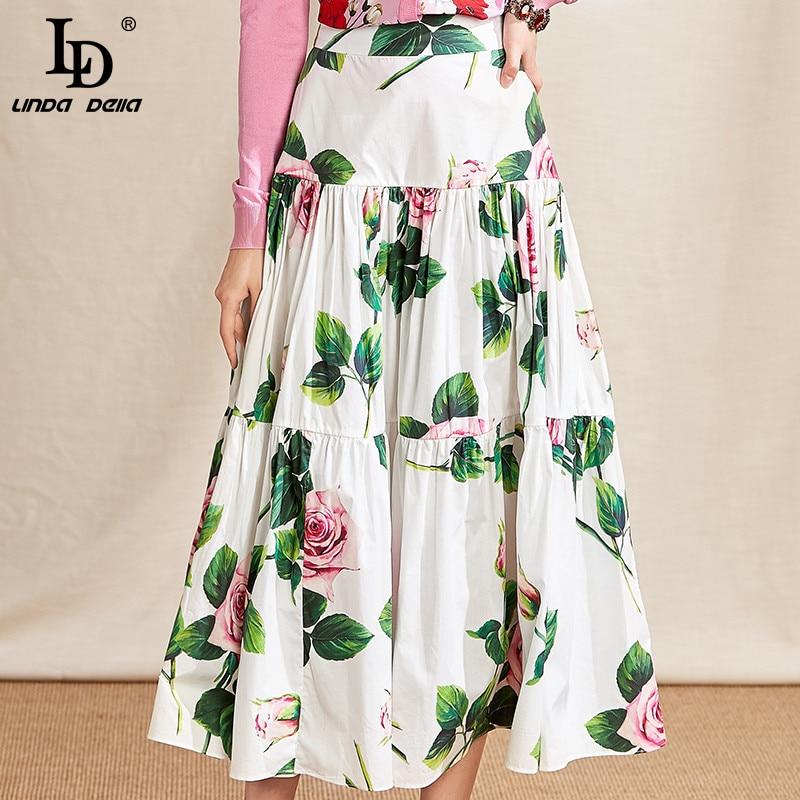 LD LINDA DELLA 2021 Fashion Runway Summer Cotton Skirt Women High Waist Beautiful Whiter Rose Flower Print Ruffles Midi Skirts