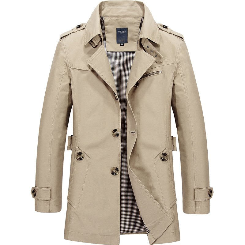 2020 New Trench Coat Jacket Overcoat Casual Men's Windbreakers Solid Color X-Long  Men Fashion Autumn Jackets