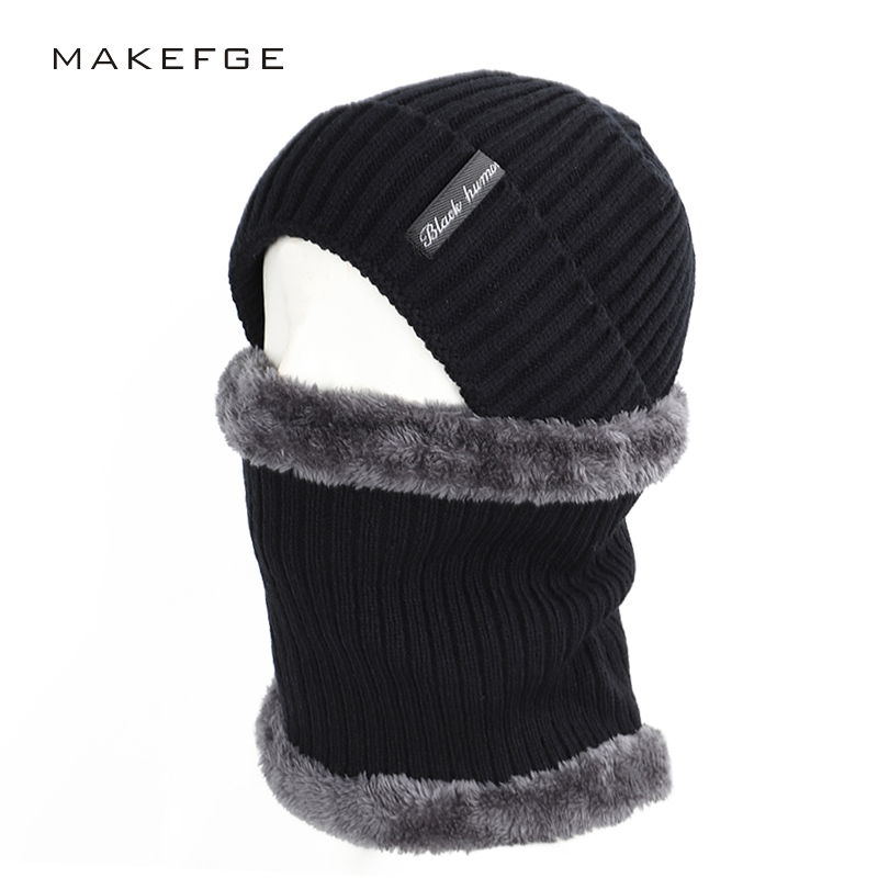 2019 Fashion Striped Men's Cotton Hat Scarf Set 2 Sets Of Winter Men And Women Letter Label Knit Hat Plus Velvet Thick Multi-pie