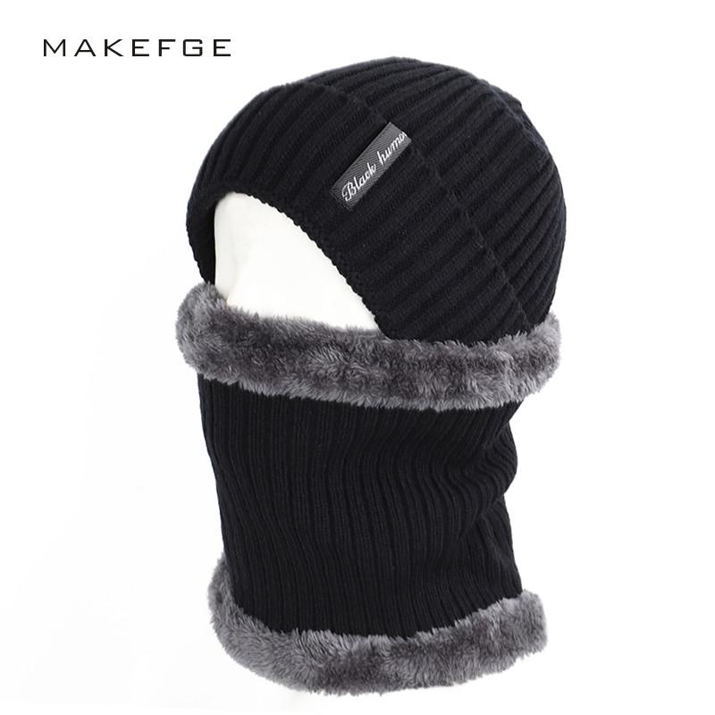 2019 Fashion Striped Men's Cotton Hat Scarf Set 2 Sets Of Winter Men And Women Letter Label Knit Hat Plus Velvet Thick Multi-pie