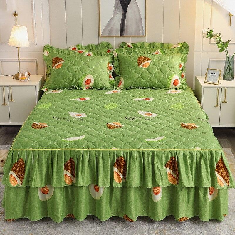 inverno quente algodão saia cama rendas lençóis