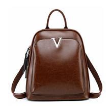 Новый женский рюкзак из кожи и вощеной ретро Студенческая сумка