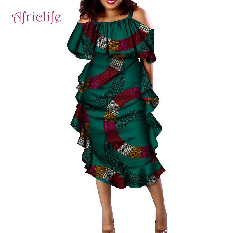 Design de Moda Sexy para as Mulheres Novo Tradicional Africano Vestuário Impressão Dashiki Slash Neck Plissado Vestidos Wy4330 2020