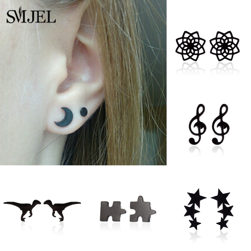SMJEL Stainless Steel Black Earrings Small Geometric Three Star Puzzle Dragon Stud Earring Women Fashion Ear Jewelry Studs