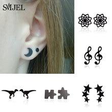SMJEL – boucles d'oreilles noires en acier inoxydable pour femmes, petits clous d'oreilles géométriques trois étoiles, Puzzle Dragon, à la mode
