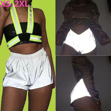 Night Light Reflective Shorts Women Hip Hop Shiny Short Pants Casual Shorts Solid Color Low waist Elastic Waist Sexy Shorts sexy paillette design low waisted solid color women s mini shorts
