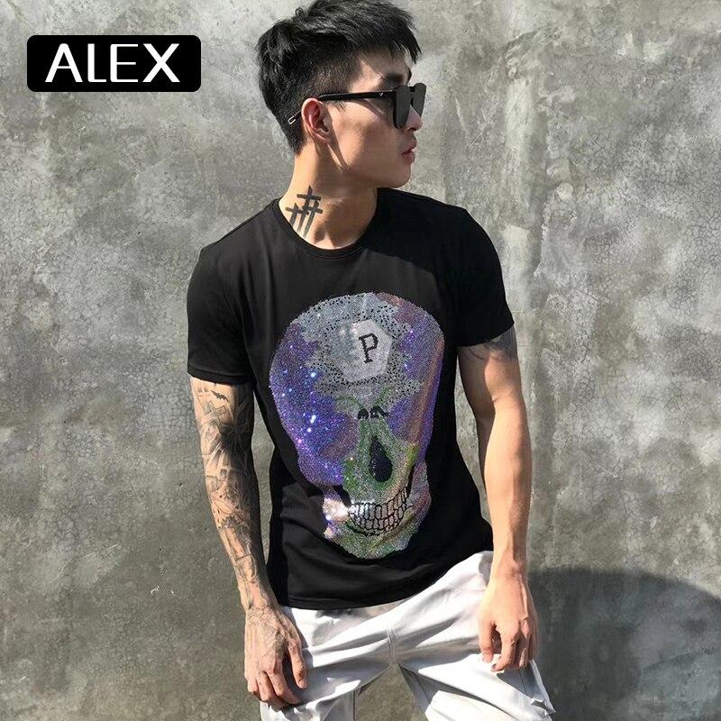 Alex plein Футболка Мужская Летняя Повседневная хлопковая Стразы