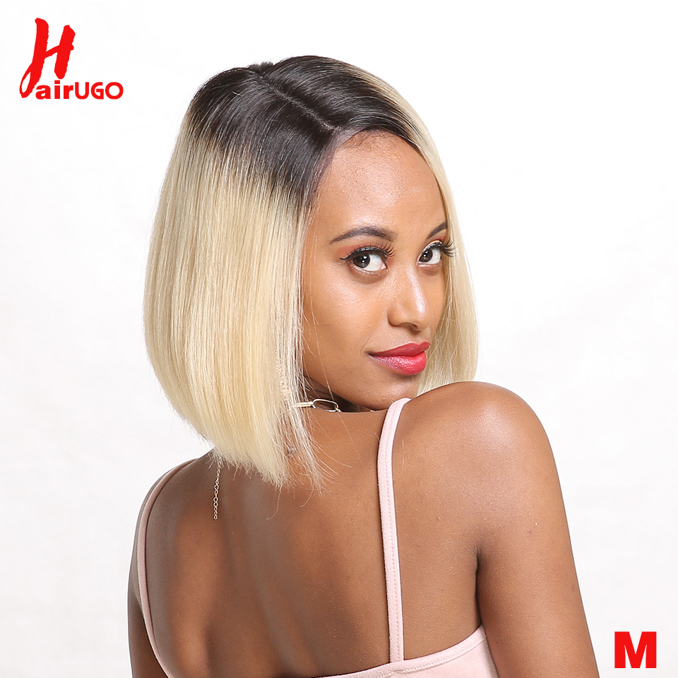 Short Lace Part Human Hair Wigs Ombre Blonde Human Hair Lace 1B/613 Wig Brazilian Hair Bob Wig For Black Women 11 Inch HairUGo
