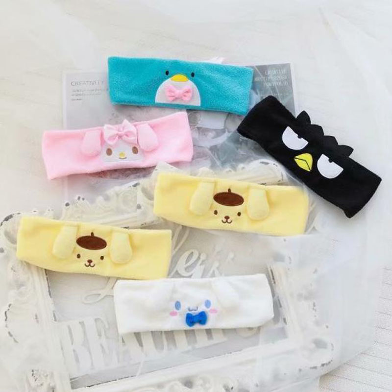 1 Pcs Cartoon Japan My Melody Purin Cinnamoroll Dog Kuromi Plush Hairband Headband For Girl Kids Hair Band Accessories Toys