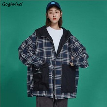 Jackets Women Baseball Loose Leisure Sports Plaid Patchwork Fashionable Korean S