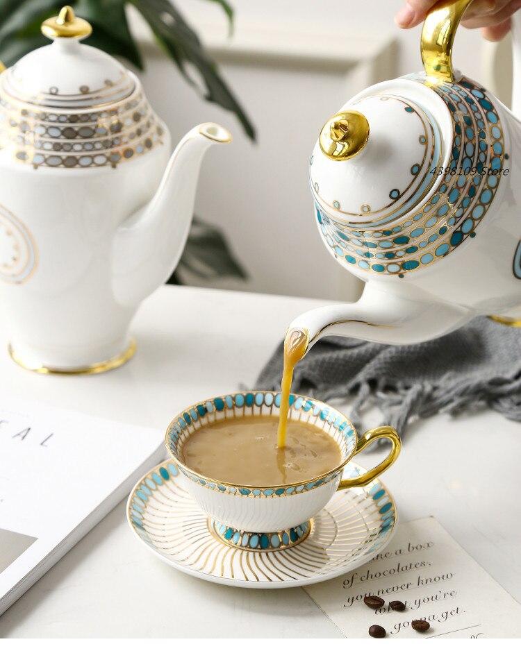 English tea set ceramic teapot coffee cup dish set bone china coffee pot sugar bowl milk pot hand coffee pot household kettle
