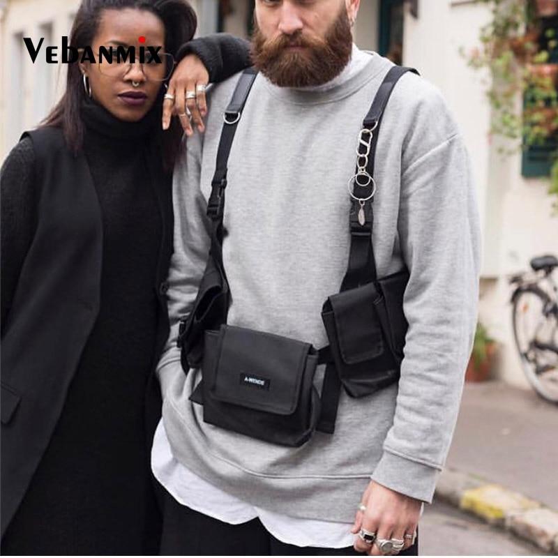 Cool Function Chest Rig Bag Waist Pack Hip Hop Boy Streetwear Chest Bag For Men Tactical Multfunction Pockets Vest Shoulder Bag