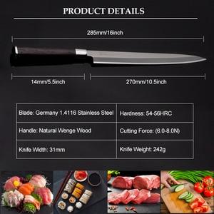 Image 2 - Японский нож сашими для суши, 27 см, кухонный нож из немецкой нержавеющей стали, японский лосось, сырая рыба, филе, янагиба, кухонный нож 10,2 г