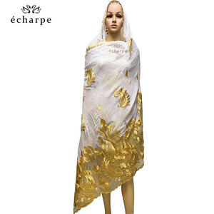 Image 5 - 2020 последняя африканская Женская шаль 100% хлопок мусульманский шарф Вышивка Сращивание с сеткой мусульманский шарф больших размеров для шали EC229