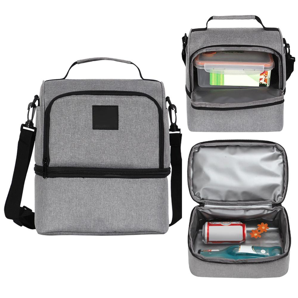 Multifunctional Refrigerated Ice Pack Double Lunch Box Lunch Box Insulated Bag Lunch Bag With Rice (gray) 40DC12