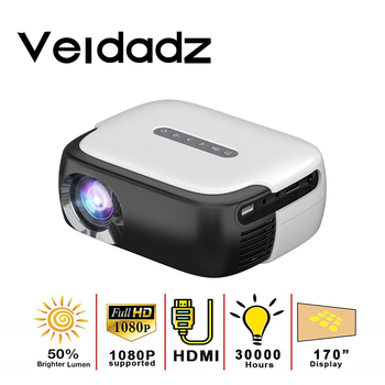 VEIDADZ RD860 Mini LED Portable Movies Projector 640*360 Pixels with HDMI/USB/AV/Audio Interfaces for Home Theater Entertainment