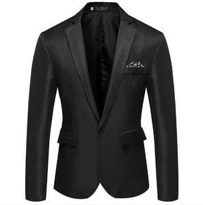 HEFLASHOR Suit Jacket Blend Long-Sleeve Formal Cotton Blazer Coat Top Male Notched One-Button-Suit