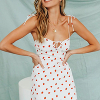 Strawberry Printed Sexy Strap Mini Dress 2019 Sleeveless Backless Vintage VestidosSummer Casual Sexy Slim Woman Cami Dress 2019