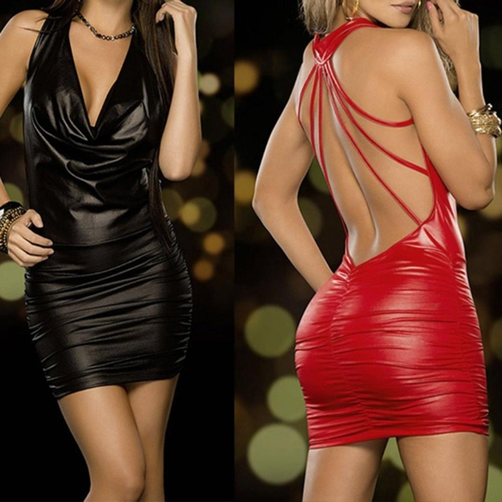 <font><b>Sexy</b></font> nightclub Women <font><b>Black</b></font> And Red Wet Look Sleeveless Backless Bandage Halter Faux <font><b>Leather</b></font> Bodycon <font><b>Dress</b></font> Mini Bodycon <font><b>Dress</b></font> image