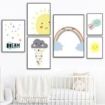 Somewhere Over The Rainbow Arte Da Pintura do Retrato Da Parede Do Berçário Poster Canvas Crianças Quarto Decoração Imagem Brilhante E Alegre