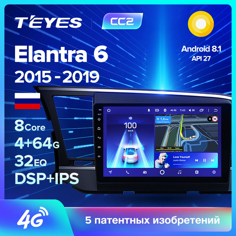 Video-Player Multimedia Navigation Car-Radio Gps Android Teyes Cc2 Hyundai Elantra No-2din title=
