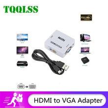 TQQLSS 1080P przenośny HDMI kompatybilny konwerter VGA HDMI2VGA videobox adapter audio nadaje się do komputera komputer przenośny projektor