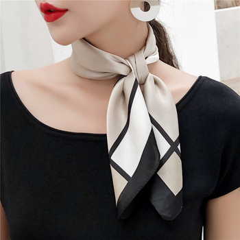 YILIAN Brand 60x60cm Luxury Silk Scarf Striped Plaid Print Top Quality Fashion Thin Scarf for Hair Wholesale Headband Bag Ribbon yilian brand new hot silk hair scarf top 70x70cm ethnic style retro fashion all match wholesale mosaic grid print scarf women