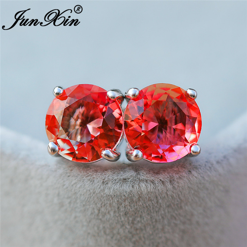 Girls Cute Rainbow Crystal Round Earrings For Women Silver Color Mystic Pink Yellow Zircon Ear Stud Earring Wedding Jewelry