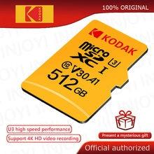 Kodak – carte Micro SD, 32 go/64 go/512 go/256 go/128 go, classe 10, U3, 4K, mémoire Flash haute vitesse