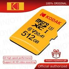 Kodak tarjeta Micro SD de 512GB 256GB 128GB 32GB 64GB class10 tarjeta de memoria Flash U3 4K de alta velocidad cartao de memoria