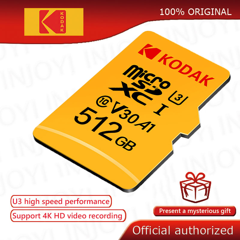 Kodak-tarjeta Micro SD de alta velocidad, memoria Flash U3 4K de 512GB, 256GB, 128GB, 64GB, 32GB, class10