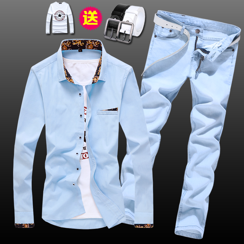 Spring Autumn Men's Long Sleeve Shirt Pencil Pants Jeans Slim Fit 2pcs Set Casual Shirts Trousers For Male Clothing E53