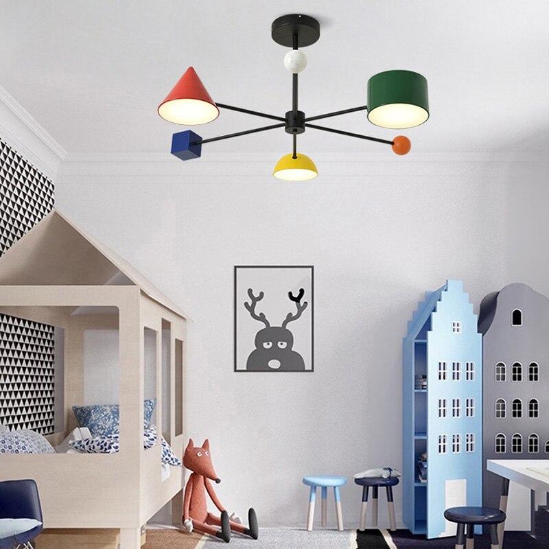 Artpad 30w LED Pendant Lamp Personality Metal Colorful Children Room Geometric Blocks Art Dim 3 Head Ceiling Hanglamp Fixtures