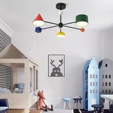 Artpad 30w conduziu a lâmpada pingente personalidade de metal colorido crianças quarto blocos geométricos arte dim 3 cabeça teto hanglamp luminárias