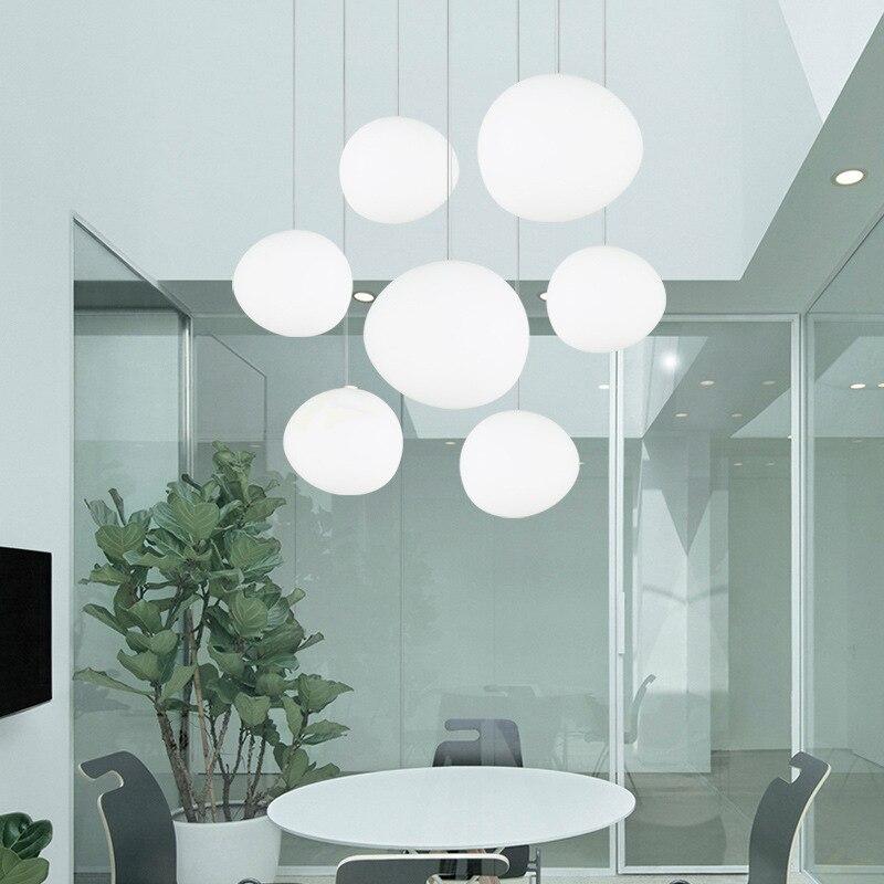Modern White Pebbles LED Pendant Lights Nordic Dining Room White Glass Ball Pendant Lamp Shopping Cafe Decor Lighting Luminaires