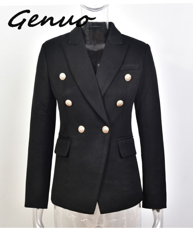 Genuo fomal suit New Fashion 2019 Designer Blazer Jacket Women's Metal Lion Buttons Double Breasted Blazer size S-XXL