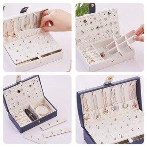 Image 4 - Nouvelle boîte à bijoux fraîche et Simple en polyuréthane Portable arqué 2 couches petite boucle doreille anneau multifonctionnel en cuir boîte demballage de bijoux