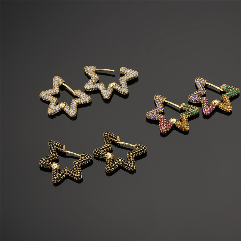 Luxury Full Micro Pave Setting AAA+ CZ Star Hoop Earrings For Women Gold Color Earring Jewelry Femme Bijoux