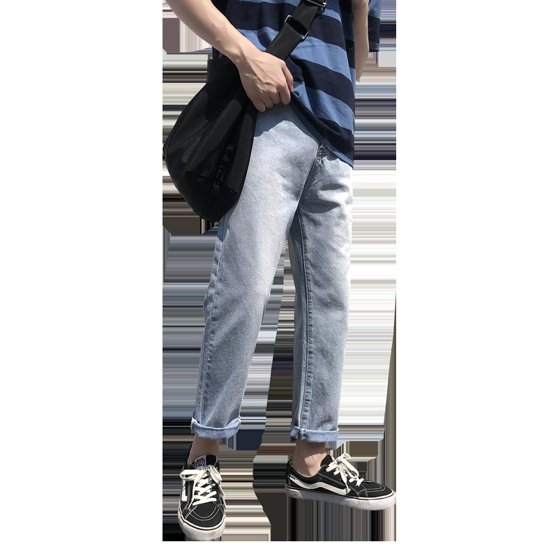 Spring Summer New Style MEN'S Pants Korean-style Trend Straight-Cut Jeans Men's Loose-Fit Wide-Leg Casual Wind Capri Pants