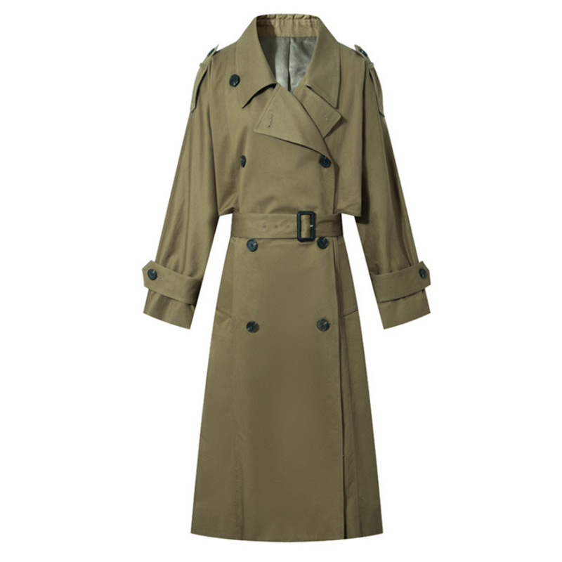 Liva girl Women Classic Solid Long   Trench   Coat Female Doube Breasted   Trench   Sashes England Style Turn-down Collar Outerwear