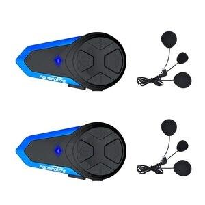 Image 1 - Fodsports 2 chiếc BT S3 Xe máy Bluetooth Liên Lạc Nội Bộ Xe Máy Mũ Bảo Hiểm Tai Nghe Chống Nước BT Interphone Intercomunicador FM
