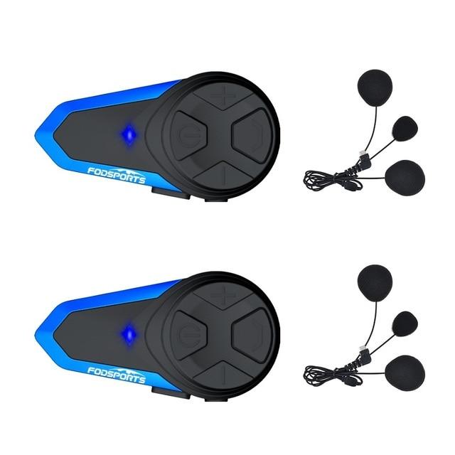 Fodsports 2 pçs BT S3 capacete da motocicleta bluetooth interfone moto capacete fone de ouvido à prova dwaterproof água bt intercomunicador fm