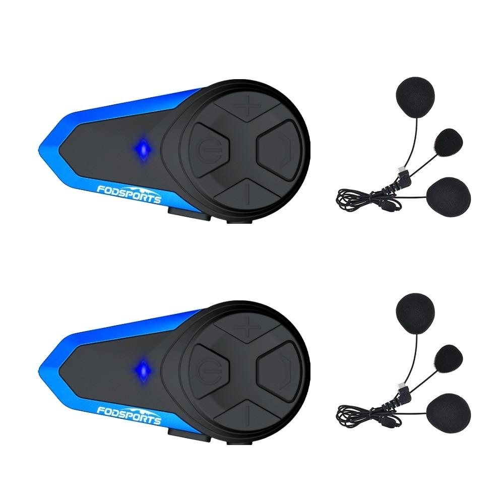 Fodsports 2 Pcs BT-S3 Motorcycle Helmet Bluetooth Intercom Motorbike Helmet Headset Waterproof BT Interphone Intercomunicador FM