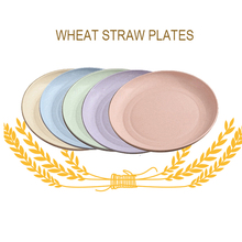 Eco-friendly Wheat Straw Plate Sets 5 PCS Colorful PP Tray Food Fruit Dessert Soup Natural Preservation Plates