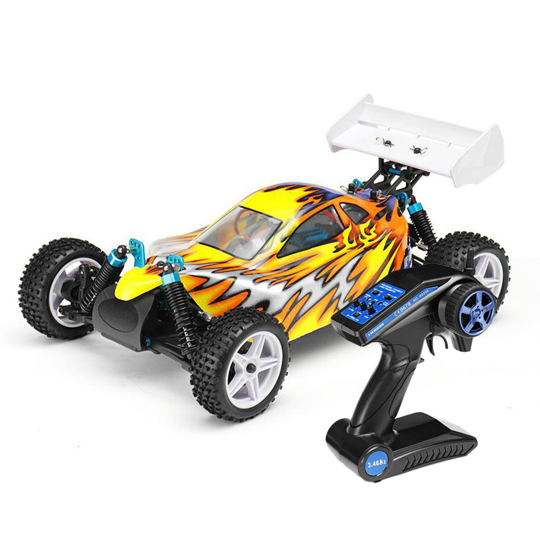 HSP 94107 1/10 4WD 40km/H Brushed Electric Off Road Buggy RC Car For Children Education Birthday Gift - Yellow US Plug/EU Plug
